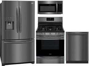 "Gallery 4-Piece Black Stainless Steel Kitchen Package with FGHB2868TD 36"" French Door Refrigerator, FGGF3036TD 30"" Freestanding Gas Range, FGID2466QD 24"" Fully Integrated Dishwasher and FGMV176NTD 30"" Over-the-Range Microwave"