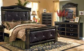 Coal Creek 4-Piece Bedroom Set with King Upholstered Mansion Bed, Dresser, Mirror and Chest in Dark Brown