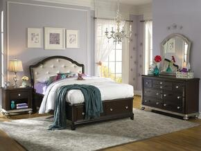 Glamour 86885303411SET 4 PC Bedroom Set with Twin Size Storage Bed + Dresser + Mirror + Nightstand in Black Cherry Finish