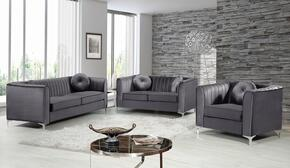 Isabelle Collection 739633 3-Piece Living Room Sets with Stationary Sofa, Loveseat and Living Room Chair in Grey