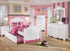 Exquisite Full Bedroom Set with Trundle Bed, Dresser, Mirror, Single Nightstand and Chest in White