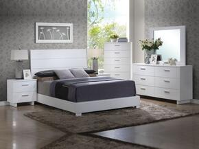 Lorimar Collection 22627EKSET 6 PC Bedroom Set with King Size Bed + Dresser + Mirror + Chest + 2 Nightstands in White Finish