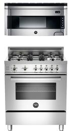 "Professional 2-Piece Stainless Steel Kitchen Package with PRO304GASXLP 30"" Freestanding Liquid Propane Range and KO30PROX 30"" Over-the-Range Microwave"