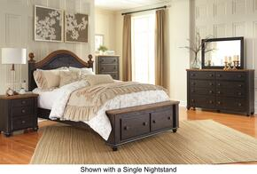 Maxington Queen Bedroom Set with Storage Bed, Dresser, Mirror, 2 Nightstands and Chest in Brown