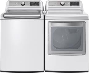 "White Top Load Laundry Pair with WT7500CW 27"" Super Capacity Washer and DLEX7600WE 27"" Electric Dryer"
