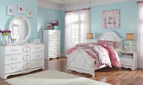 Korabella Twin Bedroom Set with Panel Bed, Dresser and Mirror in White Finish