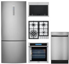 "5-Piece Stainless Steel Kitchen Package with HRB15N3BGS 28"" Bottom Freezer Refrigerator, HCC2230AGS 24"" Natural Gas Cooktop, HCW225RAES 24"" Single Wall Oven, HMV1472BHS 24"" Over the Range Microwave, and DWL7075MSS 24"" Dishwasher"