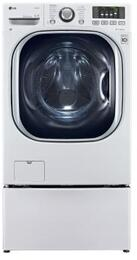 "WM3997HWA TurboWash Series 27"" Washer/Dryer Combo with WDP4W 27"" Laundry Pedestal Plus Storage Drawer in White"