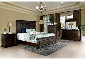 Minerva Collection CM783QBDMCN 5-Piece Bedroom Set with Queen Bed, Dresser, Mirror, Chest and Nightstand in Walnut Finish