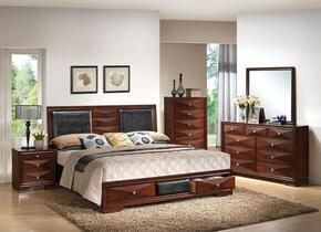 21907EK Windsor E. King Size Bed + Dresser + Mirro + Chest + Nightstand with Black PU Upholstery and Two Underbed Storage in Merlot Finish