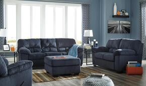 Jacqueline Collection MI-7490FSBLRO-MBLU 4-Piece Living Room Set with Full Sofa Sleeper, Loveseat, Recliner and Ottoman in Midnight Blue
