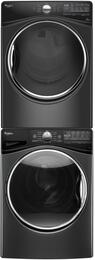 """Black Diamond WFW9290FBD 27"""" Front Load Washer with WGD92HEFBD  27"""" Gas Dryer and W10869845 Stacking Kit"""