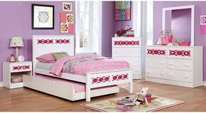 Cammi Collection CM7853PKTBDMCN 5-Piece Bedroom Set with Twin Bed, Dresser, Mirror, Chest, and Nightstand in Pink and White Finish