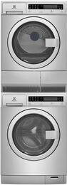 "Stainless Steel Front Load Compact Laundry Pair with EFLS210TIS 24"" Washer, EFDE210TIS 24"" Electric Dryer and STACKIT24 Stacking Kit"
