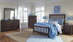 Strenton Full Bedroom Set with Panel Bed, Dresser, Mirror, Chest and 2 Nightstands in Brown