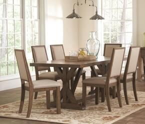 Bridgeport 105521C 7 PC Dining Room Set with Dining Table + 6 Side Chairs in Weathered Acacia Finish