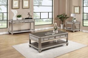 Bling Game 704618CES 3 PC Living Room Table Set with Coffee Table + End Table + Sofa Table in Metallic Platinum Finish
