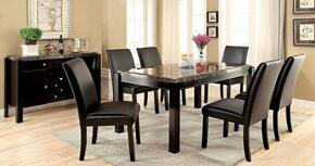 Grandstone I Collection CM3823BKT6SCSV 8-Piece Dining Room Set with Rectangular Table, 6 Side Chairs and Server in Black