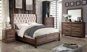 Hutchinson Collection CM7577EKBEDSET 5 PC Bedroom Set with Eastern King Size Panel Bed + Dresser + Mirror + Chest + Nightstand in Rustic Natural Tone Finish
