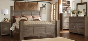 Juararo Queen Bedroom Set with Poster Bed, Dresser, Mirror and Nightstand in Dark Brown