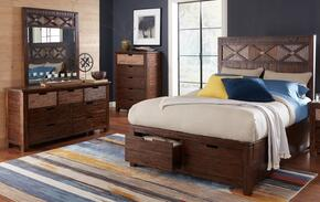 Painted Canyon Collection 1603QPBDM 3-Piece Bedroom Set with Queen Bed, Dresser and Mirror in Brown
