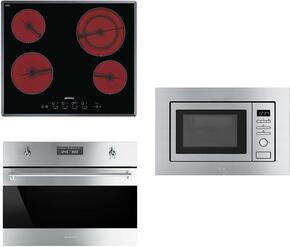 """3-Piece Stainless Steel Kitchen Package with S2641TCU 24"""" Smooth Cooktop, SU45MCX1 24"""" Single Wall Oven, and MI20XU 24"""" Built In Microwave"""