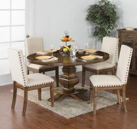 Cornerstone Collection 1395BMDT4C 5-Piece Dining Room Set with Round Dining Table and 4 Chairs in Burnished Mocha