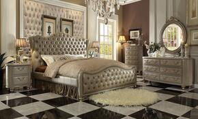 Varada 21237EK5PC Bedroom Set with Eastern King Size Bed + Dresser + Mirror + Chest + Nightstand in Champagne Gold Finish