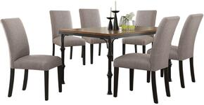 Vriel Collection 71580FGSET 7 PC Dining Room Set with Dining Table + 6 Fog Grey Side Chairs in Dark Oak and Black Finish