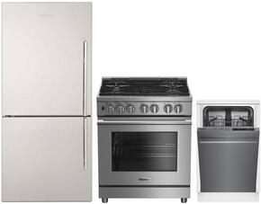 "3-Piece Kitchen Package with BRFB1812SSLN 30"" Counter Depth Bottom Freezer Refrigerator, BDFP34550SS 30"" Freestanding Dual Fuel Range, and a free DWS55100SS 18"" Built In Fully Integrated Dishwasher in Stainless Steel"