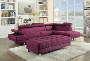 Milan Collection G447SCO 2 PC Living Room Set with Sectional Sofa + Ottoman in Berry Color