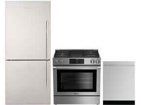 "3-Piece Kitchen Package with BRFB1812SSLN 30"" Counter Depth Bottom Freezer Refrigerator, BGR30420SS 30"" Slide-In Gas Range, and a free DWT55300SS 24"" Built In Fully Integrated Dishwasher in Stainless Steel"