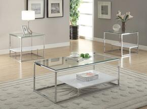 Ruben 80430CET 3 PC Living Room Table Set with Coffee Table + 2 End Tables Chrome Finish