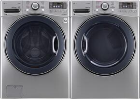 "Graphite Steel Front Load Laundry Pair with WM3770HVA 27"" Washer and DLGX3571V 27"" Gas Dryer"