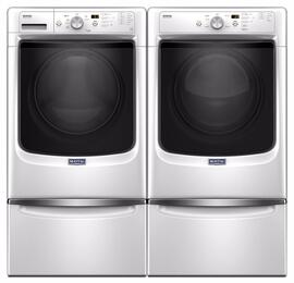 "White Front Load Laundry Pair with MHW3505FW 27"" Washer, MGD3500FW 27"" Gas Dryer and 2 XHPC155XW Pedestals"