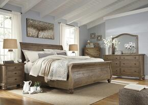 Trishley King Bedroom Set with Sleigh Bed, Dresser, Mirror, 2x Nightstands and Chest in Light Brown