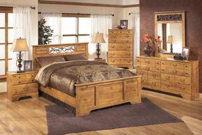 Bittersweet Queen Bedroom Set with Panel Bed, Dresser, Mirror and Nightstand in Light Brown
