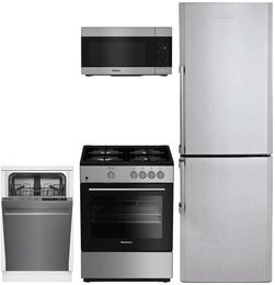 "4-Piece Kitchen Package with BRFB1322SS 24"" Bottom Freezer Refrigerator, BGR24100SS 24"" Gas Freestanding Range, DWS55100SS 24"" Built In Dishwasher and  BOTR30200CSS 30"" Over the Range Microwave Oven in Stainless Steel"