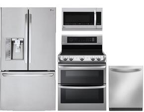 "4-Piece Stainless Steel Kitchen Package with LFXS30726S 36"" French Door Refrigerator, LDE4413ST 30"" Electric Freestanding Range, LDF8874ST 24"" Fully Integrated Dishwasher and LMHM2237ST 30"" Over the Range Microwave"