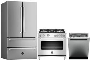 "4-Piece Stainless Steel Kitchen Package with REF36X 36"" French Door Refrigerator, MAS244GASXE 24"" Freestanding Gas Range, KU24PRO1XV 24"" Wall Mount Hood, and DW24XV 24"" Built In Fully Integrated Dishwasher in Stainless Steel"