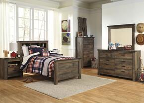 Trinell Twin Bedroom Set with Bookcase Bed, Dresser, Mirror, Nightstand and Chest in Brown