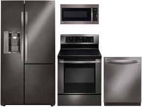 4 Piece Black Stainless Steel Kitchen Package With LRE3061BD 30