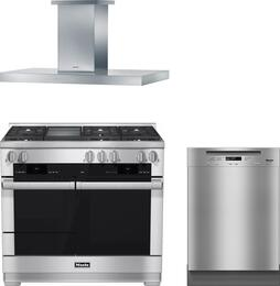 "3-Piece Stainless Steel Kitchen Package with HR1956DFGD 48"" Freestanding Dual Fuel Range, DA5321D 48"" Mount Ducted Hood, and G6625UCLST 24"" Full Console Dishwasher"