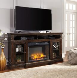 Roddinton Collection W701-88F21 2-Piece Set with TV Stand and W100-21 Large Infrared Fireplace Unit in Dark Brown