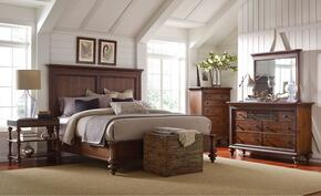 Cascade 4940QPB2NTCDM 6-Piece Bedroom Set with Queen Panel Bed, 2 Night Tables, Chest, Dresser and Mirror in Brown