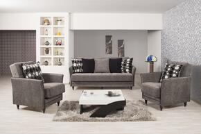 Bellina Design BEDES2ACBFGY Package Containing Convertible Sofa Bed and 2 Armchairs with Pillows, Piped Stitching, Tapered Legs and Storage Under the Seat in Floket Gray