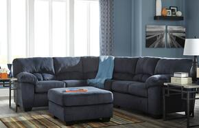 Dailey 95402-55-56-08 2-Piece Living Room Set with Sectional Sofa and Ottoman in Midnight Blue