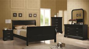 Louis Philippe 203961QSET 5 PC Bedroom Set with Queen Size Sleigh Bed + Dresser + Mirror + Chest + Nightstand in Black Color