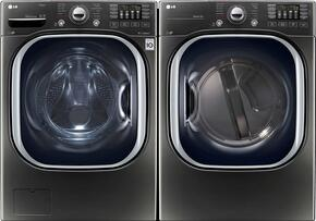 "Black Stainless Steel Laundry Pair with WM4370HKA 27"" Washer and DLEX4370K 27"" Electric Dryer"