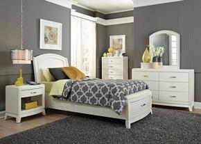 Avalon II Collection 205YBRFLSET 4 PC Bedroom Set with Full Size Storage Bed + Dresser + Mirror + Nightstand in White Truffle Finish